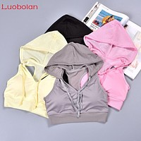 Yoga Bra Workout Crop Tops Quick Dry Breathable Mesh Sleeveless Vest Hoodies With Pad