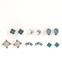 With Love From CA Turquoise Moon 6 Earring Set - Womens Jewelry - Multi - One