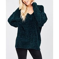 Chenille Oversized Sweater in Teal Green