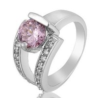 Rizilia Jewelry Fashion Designer White Gold Plated Cz Round Cut Pink Sapphire Color Cocktail Ring