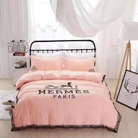 Hermes Duvet cover Blanket Quilt coverlet Pillow shams 4 PC Bedding SET