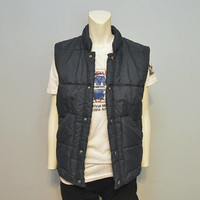 Vintage 1980's Navy Blue Puffer Vest by Lee Wald Outerwear Snap Up Retro Red Lining Jacket Size Small Fall Fashion Bohemian 80's
