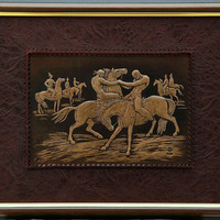 Nomads Game, Wall hanging,43x35, leather art work, Birthday gift