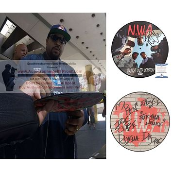 Ice Cube Autographed N.W.A. Straight Outta Compton Photo Edition Vinyl Record Album, Proof, Beckett