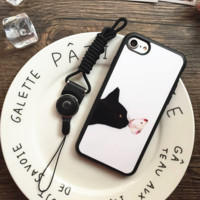 Black cat playing with a butterfly Phone Case Cover for Apple iPhone 7 7 Plus 5S 5 SE 6 6S 6 Plus 6S Plus + Nice gift box! LJ161101-007