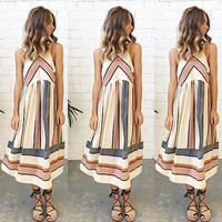 2016 Women Sexy Summer Geometric Dress Maxi Long Party Beach Boho Loose Dress Sundress