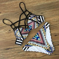 Fashion Boho Print Crisscross Strap Beach Bikini Set Swimsuit Swimwear