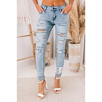 Bend The Rules Mid-Rise Distressed Jeans (Light Denim)