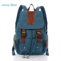 Fashion navy-blue retro with leather Backpack