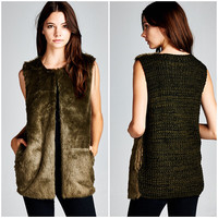 New Mohair Faux Fur Olive Vest With Knit Back Size Small