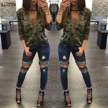 Lace Up Camouflage Tops