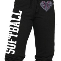 Softball Capri with Rhinestone Heart Shaped Softball Juniors and Adult Sizes (Small)