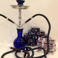 Ultra Premium Beamer 2 Hose Hookah Nargila Pipe, 5 Boxes of Beamer Ultra Premium Hookah Molasses Flavors, 100 Charcoals, Beamer Card and Accessories