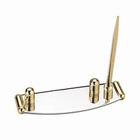 Personalized Free Silver and Gold Two Tone Business Card Holder with Pen Stand