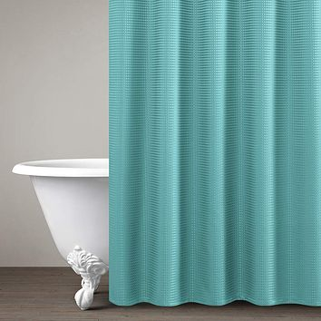 "Lazzzy Shower Curtain Metal Grommets Top for Bathroom Waterproof Waffle Weave Textured with Rust-Resistant Metal Grommets Top Shower Curtains Shower Drapes 1 Panel 72"" Turquoise Blue W70 x L72"
