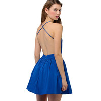 V Neck Sleeveless Backless Strap Cross Dress