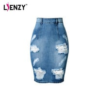 LIENZY 2016 Summer Fashion Women Denim Skirt Jeans High Waist Ripped Vintage Skinny Blue Midi Short Pencil Skirt 3XL