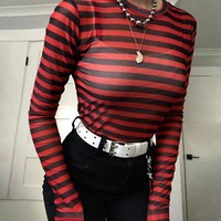 T-shirts Women's Fashion Winter Long Sleeve Stripes Sexy Slim See Through Lace Bottoming Shirt [206228750362]