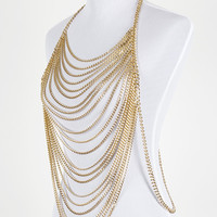 NECKLACE / LAYERED METAL CHAIN / BODY CHAIN / LINK / 24 INCH LONG / 15 INCH DROP / NICKEL AND LEAD COMPLIANT