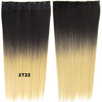 """Dip dye hairpieces New Fashion 24"""" Women Clip in on gradient wig Bath & Beauty Hair Ombre Hair Extensions Two Tone Straight hair Gradient Hair Extension Colorful Hairpieces GS-666 2T22,1PCS"""