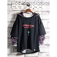 Tide brand hip hop fake two hooded sweater men's personality national grid stitching hooded shirt Japanese plaid jacket
