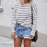 Stripes Long Sleeve Loose Top
