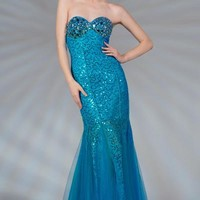 PRIMA C132251 Blue Lace and Tulle Mermaid Prom Dress
