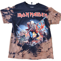 Hand Bleached Iron Maiden Trooper Band Tee,Vintage inspired Rock Shirt. Mens Streetwear.