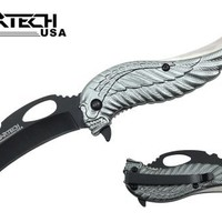 """Wartech YC-S-8376-GY 8"""" Assisted Open Folding Tactical Pocket Knife with Grey Skull Angel Design Handle"""