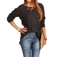 Charcoal Plaid Cable Sweater Top