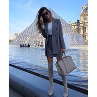 TAOVK Office Lady Plaid Suit Jacket Double Breasted Blazer Coat + High Waist A-line Shirt Two Piece Women Skirt Set
