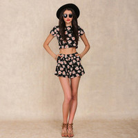 Simple fashion sexy short paragraph printing two piece of summer clothes