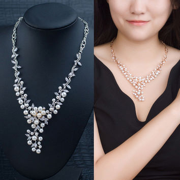 Jewelry Shiny Gift Stylish New Arrival Pearls 925 Silver Prom Dress Accessory Necklace [4914871876]
