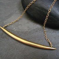 Quill necklace, curved bar, gold quill, curved pendant, crescent shape, pointed bar necklace, tusk shaped
