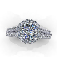 white gold diamond moissanite ring 75ct by EternityCollection