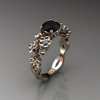 Nature Inspired 14K Rose Gold 1.0 Ct Black and White Diamond Floral Engagement Ring R1022-14KRGDBD