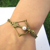 Vintage Style Antique Hunger Games Bronze  Bow and Arrow Pendant Women Girl Chain Cuff Bracelet  433A-1