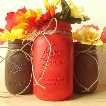 Hand Painted Mason Jars, Three - Rustic Style Jars - Orange, Medium Brown and Dark Brown