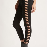 Ladder-Cutout Skinny Jeans