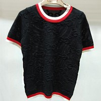 GUCCI Fashion Women Casual Double G Letter Round Collar Knit T-Shirt Top Black