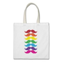 Rainbow Polka Dot Mustaches Tote Bag from Zazzle.com
