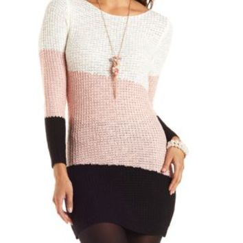 Color Block Sweater Dress by Charlotte Russe - Black Combo