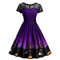 New Short Sleeve Lace Patchwork Ghost Print Full Circle Halloween Dress Costume For Women 1950s Vintage Design dresses