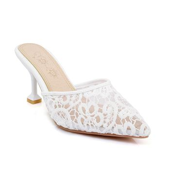 Women's Lace Hollow Toe Covered Slippers Sandals