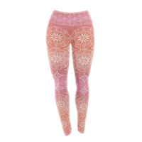 "Suzie Tremel ""Medallion Red Ombre"" Pink Yoga Leggings"