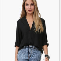 Sexy Solid Color Deep V-Neck Long Sleeve Loose blouse top