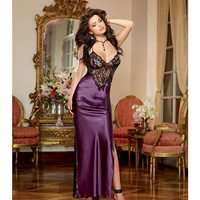 Satin Charmeuse Full Length Gown W-adjustable Criss Cross Straps & Thong Plum Lg