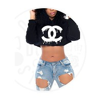 Drip Couture Cropped Hoodie
