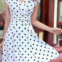 White V-Neck Polka Dot Short Sleeve Mini Dress