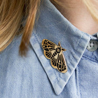 Moth Pin - Enamel Pin - Hand drawn - Gold - Cloisonne Pin - Moth Brooch - Lapel Pin - Eyeball Moth - Insect Jewelry - Black Moth - Occult